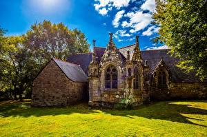 Bureaubladachtergronden Frankrijk Kerk Oud Van stenen Sainte-Christine, Bretagne een stad