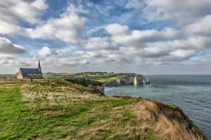 Tapety na pulpit Francja Wybrzeże Chmury Etretat Natura zdjęcia zdjęcie