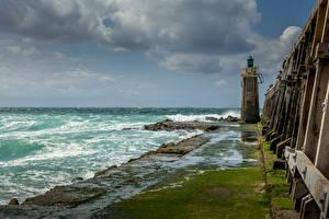 Sfondi desktop Francia La costa Un faro Nubi Capbreton