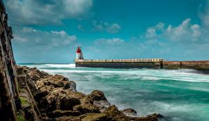 Sfondi desktop Francia La costa Un faro Banchina Pietre Capbreton Natura