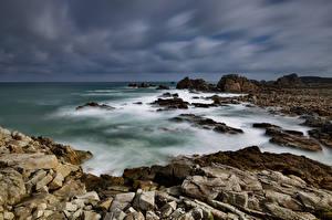 Papéis de parede França Costa Pedras Nuvem Bretagne Naturaleza imagens