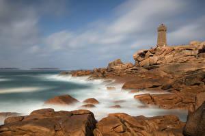 Bilder Frankrike Kusten Stenar Fyr Klippa Bretagne Natur bilder