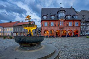 Bakgrunnsbilder Tyskland Fontener Bygning Et torg Goslar en by