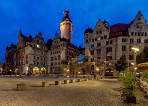 Bakgrunnsbilder Tyskland Bygning Et torg Tårn Leipzig, New Town Hall Byer
