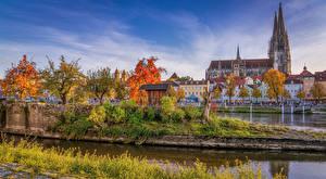 桌面壁纸,德国,房屋,河流,秋季,神庙,巴伐利亚,Regensburg,城市,