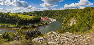 Tapety Niemcy Rzeki Panorama Klasztor Bawaria Chmury Weltenburg monastery Natura zdjęcia zdjęcie