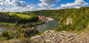 Bakgrunnsbilder Tyskland Elver Elv Panorama Kloster Bayern Skyer Weltenburg monastery Natur