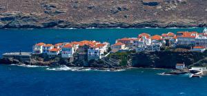Bilder Grekland Hus Kusten Andros Town Städer bilder