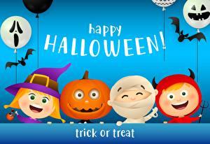 Tapety Halloween Dynia Nietoperze Kulki Twarz mężczyzny Słowo Angielski Dziewczyny zdjęcia zdjęcie
