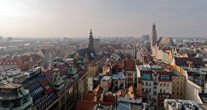 Wallpapers Houses Poland From above Wroclaw, Silesia Cities pictures images