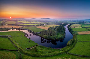 Pictures Ireland River Fields Sunrise and sunset From above River Foyle, Donegal