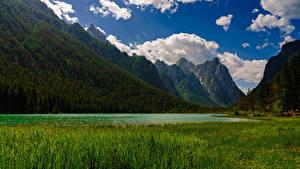 Bilder Italien Gebirge See Landschaftsfotografie Alpen Wolke Lake Dobbiaco Natur