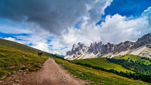 Fonds d'écran Italie Montagnes Parc Alpes Nuage Puez-Geisler Nature Park, South Tyrol
