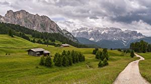 Fonds d'écran Italie Montagne Routes Photographie de paysage Alpes Nuage Trentino-Alto Adige