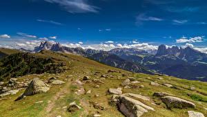 Fonds d'écran Italie Montagne Pierres Nuage Alpes Val di Funes