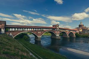 Papéis de parede Itália Rios Pontes Nuvem Pavia, Ponte Coperto Cidades imagens
