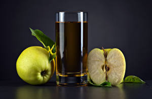 Wallpapers Juice Apples Gray background Highball glass Food pictures images