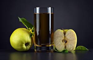 Fonds d'écran Jus Pommes Fond gris Verre Nourriture images