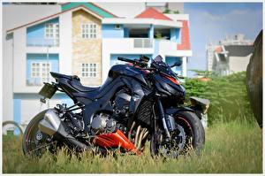 Tapety na pulpit Kawasaki Widok z boku Czarny z1000 motocykl