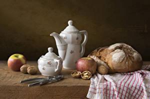 Image Kettle Bread Apples Walnut Still-life