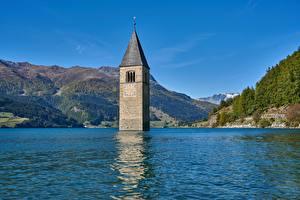 Fonds d'écran Lac Montagne Italie Les tours Reschensee, South Tyrol, Reschensee Lago di Resia