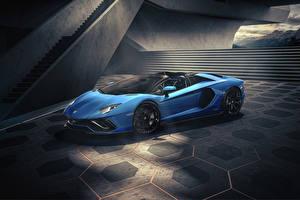 Fotos Lamborghini Roadster Hellblau 2021 Aventador LP 780-4 Ultimae Roadster automobil