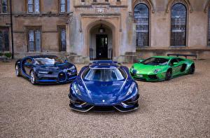 Bilder Lamborghini BUGATTI Koenigsegg Drei 3 Vorne Blau Metallisch Lamborghini Aventador, Koenigsegg Regera, Bugatti Chiron auto
