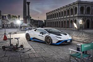 Fotos Lamborghini Weiß Metallisch  automobil