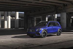 Fonds d'écran Mercedes-Benz Crossover Bleu 2021 AMG GLB 35 4MATIC Voitures images