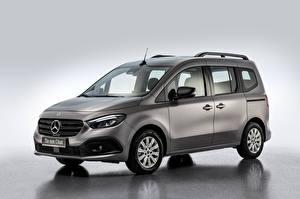 Papel de Parede Desktop Mercedes-Benz Fundo cinza Cinza 2021 Citan Micro-Camper Carros