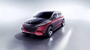 Bilder Mercedes-Benz Grauer Hintergrund Rot 2021 Concept Mercedes-Maybach EQS