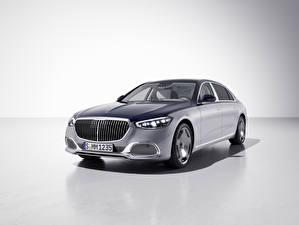 Fondos de escritorio Mercedes-Benz Fondo gris Gris 2021 Maybach S 680 4MATIC Edition 100 autos