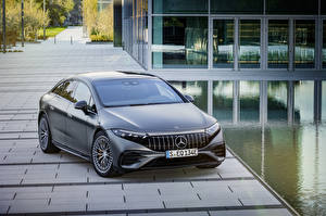 Wallpapers Mercedes-Benz Grey 2022 AMG EQS 53 4MATIC Cars pictures images