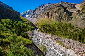 Desktop hintergrundbilder Berg Parks Bäche Felsen Ala Archa National Park, Kyrgyzstan Natur