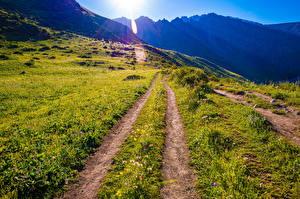 Bakgrunnsbilder Fjell Parker Veier Solen Ala Archa National Park, Kyrgyzstan