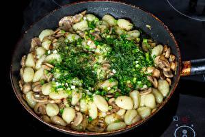 Fotos & Bilder Pilze Frühlingszwiebel Dill Kartoffel Pfanne Lebensmittel