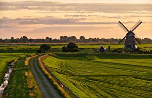 Fonds d'écran Pays-Bas Champ Routes Moulin Etersheim