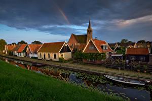 Images Netherlands Building Evening Boats Canal Kolhorn