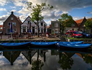 Photo Netherlands Building Marinas Boats Canal Singelwijk Cities