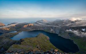 Fonds d'écran Norvège Montagnes Îles Lofoten Lac Nuage Krokvatnet