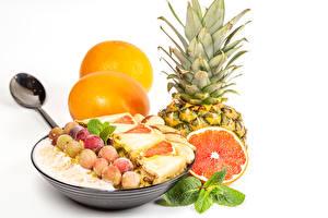 Desktop wallpapers Oatmeal Fruit Pineapples Grapefruit White background Food