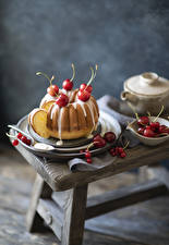 Desktop wallpapers Pastry Cherry Pound Cake Icing sugar Food