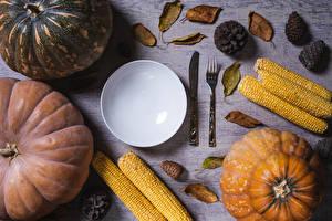 Desktop wallpapers Pumpkin Corn Knife Plate Fork Pine cone Food