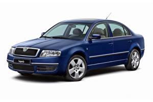 Desktop hintergrundbilder Skoda Blau Metallisch Weißer hintergrund Superb Worldwide), 2002-2006 Autos