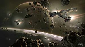 Bakgrunnsbilder Star Conflict Stjerneskip Planeter Asteroide Flygende videospill Verdensrommet