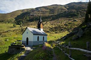 Papéis de parede Suíça Montanhas Igreja Alpes Arosa Naturaleza imagens
