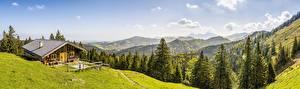 Sfondi desktop Svizzera Montagne Foresta La casa Panorama Paesaggio Alpi Natura