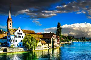 Sfondi desktop Svizzera Fiume Litorale Edificio Stein am Rhein Città