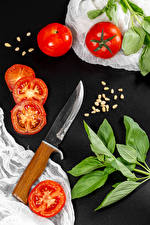 Images Tomatoes Knife Gray background Grain Branches Food
