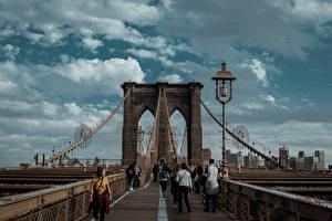 Sfondi desktop USA Ponti Lampioni New York Brooklyn, Brooklyn Bridge Città